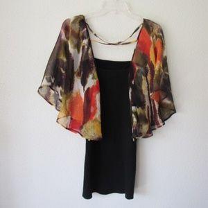 bebe silk flowy sleeved ribbed dress